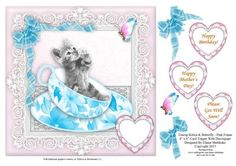Teacup Kitten Butterfly In Pink Frame 8 x 8 Topper on Craftsuprint - Add To Basket!