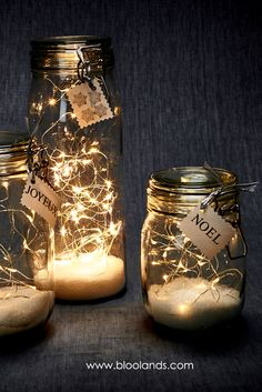 Guirlande LED lumineuse - - Happy Christmas - Noel 2020 ideas-Happy New Year-Christmas Led Garland, Light Garland, Winter Christmas, Christmas Home, Christmas Crafts, Fall Winter, Glass Jars, Mason Jars, Deco Table Noel