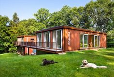 two piece container home with bridge