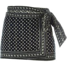 Isabel Marant Étoile 'Lyne' wrap skirt (950 DKK) ❤ liked on Polyvore featuring skirts, mini skirts, bottoms, black, wrap skirt, short wrap skirt, cotton wrap skirt, bandana print skirt and short mini skirts