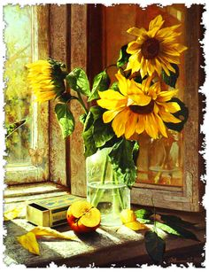 Vintage Paint by Number Kit: Sunflowers (50cm x 40cm) NEW & DIY&pre stretched