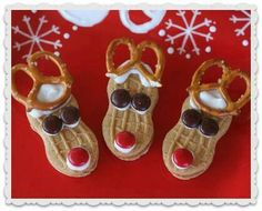 Reindeer cookies! Use nutter butter cookies, small pretzels, M & frosting
