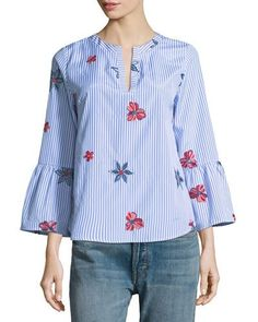 daef7de4b33 Floral-Embroidered Striped Blouse Western Tops, Floral Embroidery, Neiman  Marcus, Tunic Tops