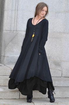 Amsterdam Dress in Black Tokyo Double layer hem artsy dress Fashion Mode, Look Fashion, Womens Fashion, Fashion Styles, Bohemian Style, Boho Chic, Inspiration Mode, Mori Girl, Layered Look
