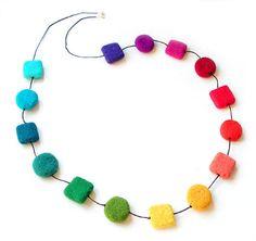 Felted necklace felted multicolor felt necklace by MarlenaRakoczy