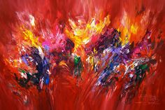 """Red Energy XL 1  Red Energy XL 1  Contemporary art. Acrylic painting on canvas Size of this vital abstract painting: 61.0""""w x39.4""""h x 1.5""""d"""