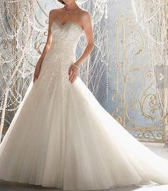 New white / ivory handbeaded mermaid wedding dress by VEILDRESS, $158.00