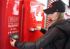 Canadian Beer Fridge only opens with a Canadian passport!  I want one.