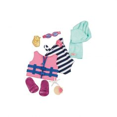 Our Generation Doll Outfit - Bathing Suit & Life Vest Outfit American Girl Accessories, Doll Accessories, Doll Carrier, My American Girl, Our Generation Dolls, Best Kids Toys, Vest Outfits, Red Gingham, Surf Girls