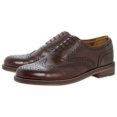 a378bad55bd5a Bertie Braxton Leather Brogue Oxford Shoes, Brown at John Lewis & Partners