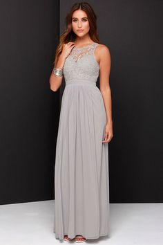 So Far Gown Grey Lace Maxi Dress