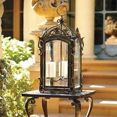 White Outdoor Candle Lantern Lamp traditional outdoor Lighting