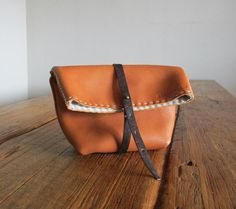 Hand Stitched Simple Leather Clutch  Caramel Brown  by asaborake