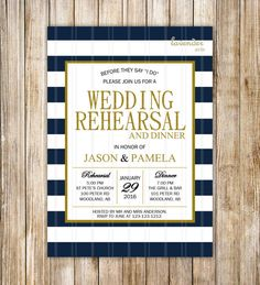Navy Blue Wedding Rehearsal Dinner Invitation Navy by LavenderArte