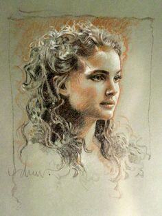 Great practice drawing portrait. The hair drawing is incredible. Padme by Drew Struzan