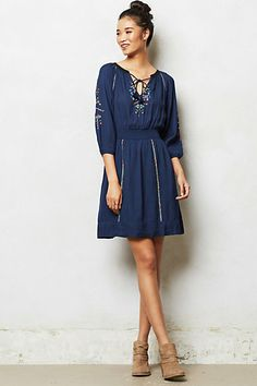Mikulas Peasant Dress. By Edme & Esyllte. Pullover styling. Viscose; polyester lining. We love this winterized version of the peasant dress, complete with gold-flecked embroidery and a flattering cinched waist. Try it with suede booties and a felt rancher. $168