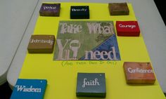 Take what u need, with 3x5in index cards in each with bible verse on back! Just about done for my ss class.