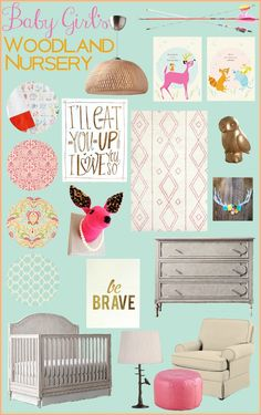 This sweet and whimsical baby girl woodland nursery inspiration board is both adorable and fun! Love the pops of blue, pinks and yellows with natural, outdoorsy elements ...