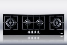 Summit GC443BGL 43 Inch Island Gas Cooktop with 4 Sealed Burners, Cast Iron Grates, Electronic Ignition and Smooth Black Ceramic Glass Surface