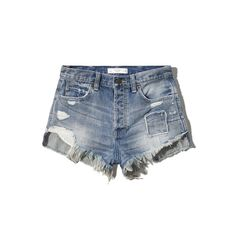 Abercrombie & Fitch HIGH RISE FESTIVAL SHORT ($20) ❤ liked on Polyvore featuring shorts, bottoms, destroyed medium wash, ripped shorts, high waisted destroyed shorts, ripped short shorts, short cotton shorts and high-waisted shorts