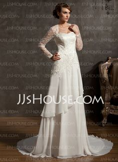 A-Line/Princess Sweetheart Chapel Train Chiffon Satin Tulle Wedding Dresses With Lace (002014901)
