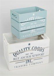 Set Of 2 Weathered Boxes #beach #seaside #crate #decor #interiors #storage #beachhouse