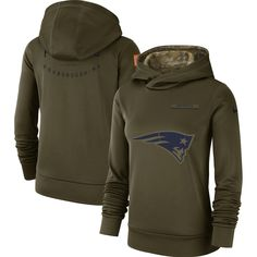 e6468edcf86 Women s New England Patriots Nike Olive Salute to Service Team Logo  Performance Pullover Hoodie