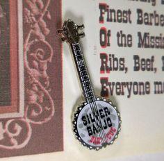 Disneyland Don DeFore Silver Banjo BBQ Restaurant SIgn Pin on special card