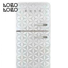 Decora la puerta de tu frigorífico con vinilo de patrón de hexágonos abstractos blancos y grises #lokolokodecora