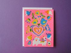 Love Valentine card Screenprint card Greeting card by SueJeanKo, $5.00