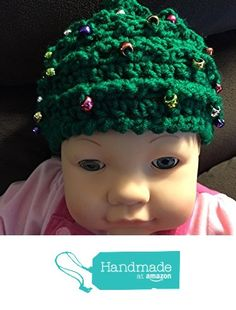Ready to mail - Christmas Tree crochet baby cap with beads - fits most toddlers or small child - 100% acrylic yarn - smoke free - pet free - all new materials from PMSCRAFTS https://www.amazon.com/dp/B01N3Y2F9C/ref=hnd_sw_r_pi_dp_OT2iyb3SFEK1C #handmadeatamazon