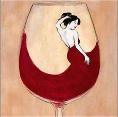 Wine art. Lovely lady in red.