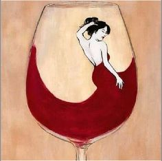 Wine art. Lovely lady in red.
