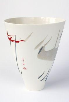 Tall V olive & red splash vase H 28cm Ali Tomlin