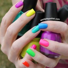 50 Stunning Rainbow Or Multicolored Nail Designs And Ideas For You In Summer – Page 40 of 50 - Summer Nail Colors Ideen Simple Nail Art Designs, Short Nail Designs, Easy Nail Art, Rainbow Nails, Neon Nails, Gradient Nails, Acrylic Nails, Coffin Nails, Bright Nails Neon