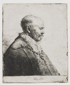 a high-resolution image of the etching xxx by Rembrandt van Rijn Rembrandt Etchings, Rembrandt Drawings, Rembrandt Art, Bald Head Man, Bald Man, Bald Heads, Dutch Golden Age, Dutch Painters, Bnf