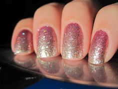 Silver and pink glittery gradient