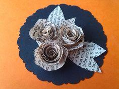 DIY Recyklace - papírová růže Paper rose Brooch, Diy, Bricolage, Brooches, Do It Yourself, Homemade, Diys, Crafting