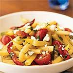 Wax Bean, Roasted Pepper, and Tomato Salad with Goat Cheese Recipe | MyRecipes.com