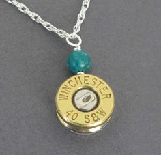 Bullet Jewelry, Custom Bullet Necklace, Custom Caliber, Winchester 40 S&W Necklace in Sterling Silver, Handmade Bullet Necklace, Made in USA...