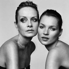 two british fashion icons, twiggy and kate moss. brigette lacombe.