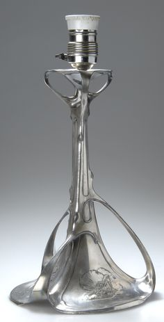 German Art Nouveau pewter table lamp, c. 1900, 34.8cm H.