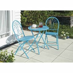 NouveauWhitford Cafe Whitford 3 Piece Garden Setting 3 Piece Aqua Smaller in size yet highly stylish, this setting comes with a round table and 2 chairs. Suitable for for gardens, balconies, patios or decks where space is limited. Durable powder-coated steel frame.Rust resistant. Outdoor Furniture Sets, Outdoor Decor, Balconies, Steel Frame, Decks, 3 Piece, Rust, Outdoor Living, Powder