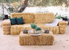 A lounge was made out of haystacks where guests could relax in perfect comfort with plenty of pillows and blankets.