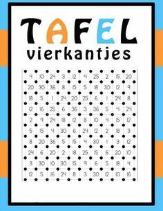 Spelletje ivm de tafels: TAFELVIERKANTJES. Speluitleg: Lln gooien om beurt met 2 dobbelstenen en voeren de vermenigvuldiging uit. Eén zijde van het passende vierkantje wordt aangestreept in die leerling zijn/haar kleur. Wanneer een leerling vier zijden van een vierkantje heeft kunnen aanstrepen, mag hij/zij het vierkantje inkleuren. Wie het meeste vierkantjes heeft kunnen inkleuren wint het spel.