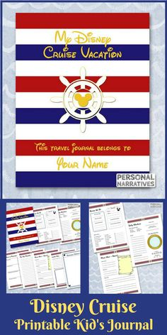 Family vacations are magical and cruises are full of adventure! Have your children keep a record of their Disney cruise vacation memories in this printable Disney nautical-themed journal. You can personalize the cover page to make it even more special!  #ad  #disney  #disneycruise  #journal  #planner  #etsy  #printable