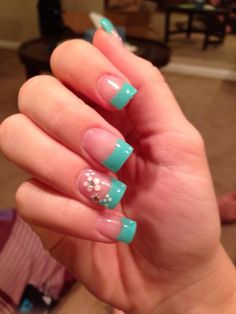 Turquoise nails french tip nails, white tip nails, teal nails, fun nails, White Tip Nails, Teal Nails, French Manicure Nails, French Tip Nails, Fancy Nails, Diy Nails, Pretty Nails, Nails Turquoise, French Tips