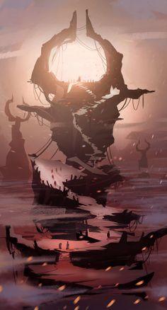 Fantasy Map, Medieval Fantasy, Dark Fantasy Art, Fantasy Artwork, Fantasy Art Landscapes, Fantasy Landscape, Landscape Art, Environment Concept Art, Environment Design