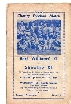 1961 Bert Williams XI ( Wolves Aston Villa Port Vale Birmingham  ) v Showbiz XI in Sports Memorabilia, Football Programmes, Friendly/ Pre-Season Fixtures, 1960s   eBay
