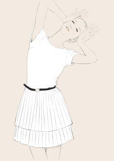 Fashion illustration - pleated white dress, chic fashion drawing // Judith van den Hoek